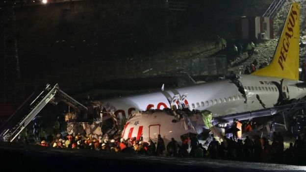 Photo of Turkey Plane Skids Off Runway And Splits In Istanbul