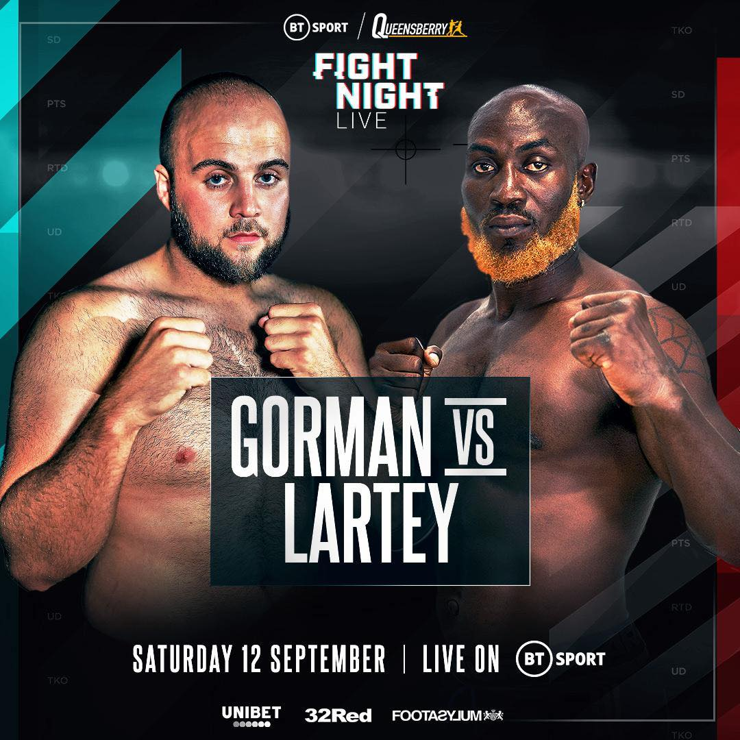 Photo of Chance For Ghana's Heavyweight Boxer Harrison Lartey As He Fights Nathan Gorman On Sept. 12