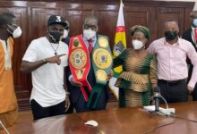 Photo of Former IBO Champion Paid Courtesy Call on Speaker of Parliament.