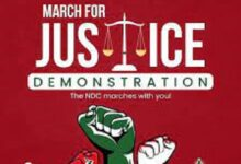 Photo of NDC Regional Youth Organisers in Ghana support  'March for Justice' Demo