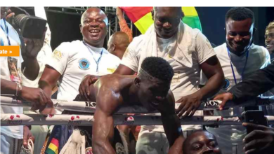 Photo of Alfred Lamptey secures TKO victory over Tanzanian opponent Iddi